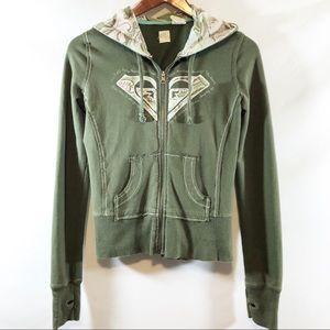 Roxy Olive Green full zip hoodie sz S